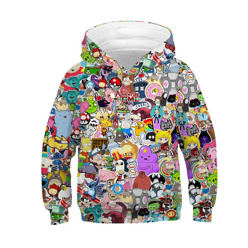 Children's Anime 3D Digital Print Hoodie