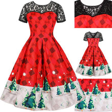 Load image into Gallery viewer, Plus Size Lace Stitching Print Christmas Vintage Dress (L-4XL)