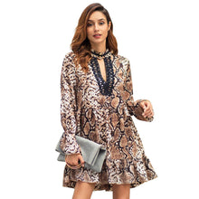 Load image into Gallery viewer, Leopard Lace Patchwork Women Dress