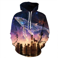 Load image into Gallery viewer, Virtual Shark Printed Pullover Hooded Sweatshirt