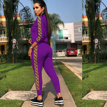 Load image into Gallery viewer, Sequins Letter Printed Two Piece Tracksuit Outfits Jumpsuits Sweatsuit Set