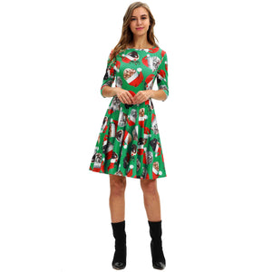 Cute Christmas Cat Printed Casual Xmas Dress