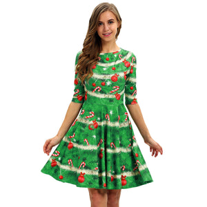 Christmas Digital Print Casual High Waist Dress