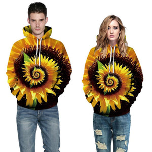 Sunflower Printed Hooded Loose Sweatshirt