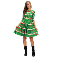 Load image into Gallery viewer, Christmas Digital Print Casual High Waist Dress