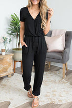 Load image into Gallery viewer, Women's Casual Short Sleeve Elastic Waist Jumpsuit
