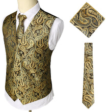 Load image into Gallery viewer, Casual Vest Three-Piece Set: Printed Vest/Breast/Tie