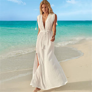 Lace Sexy Deep V-neck Beach Maxi Dress Bikini Cover Up