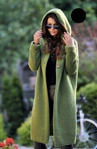 Women Casual Knitted Long Sleeve Solid Hoodie Coat