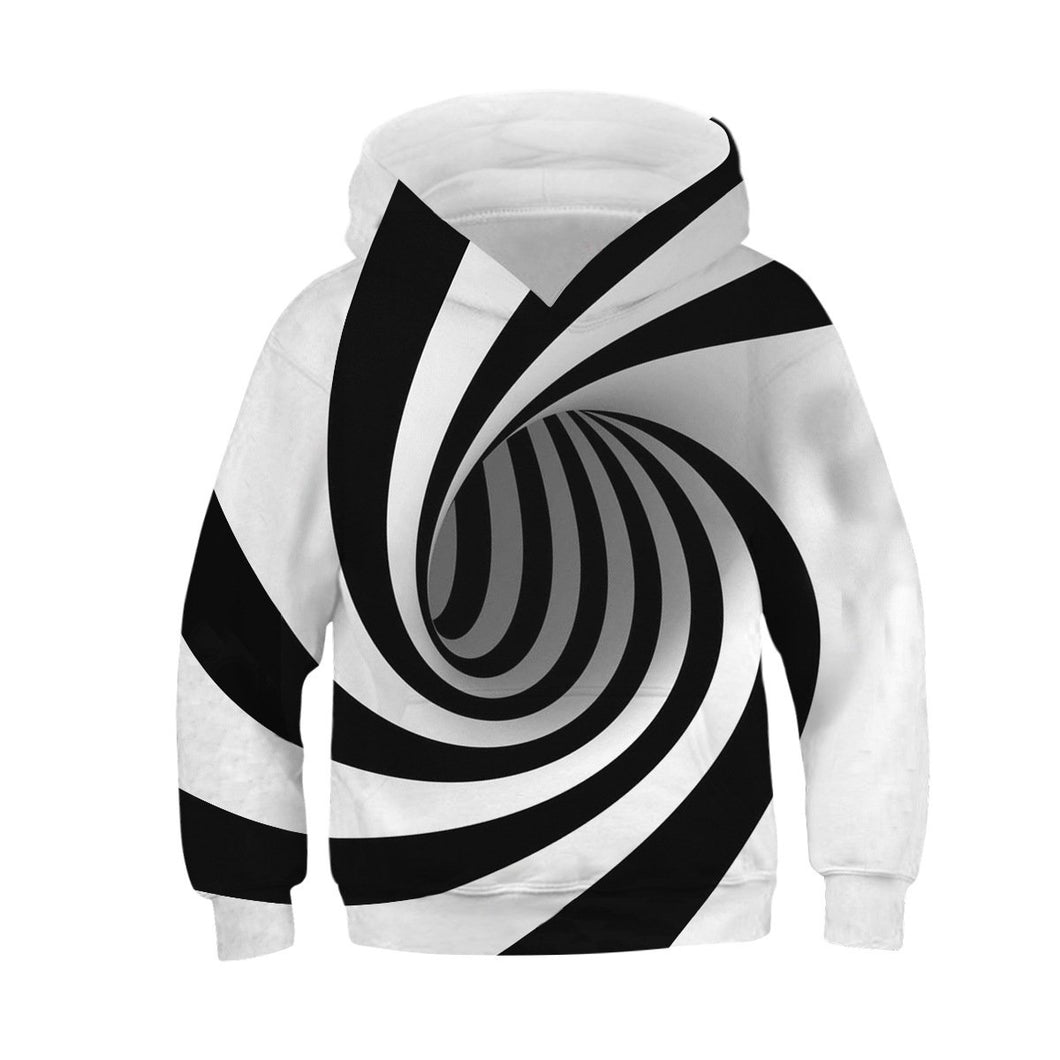 Children's Rotating Stripe Printed Hooded Sweatshirt