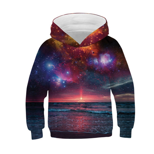 Children's starry sky 3D digital print hoodie