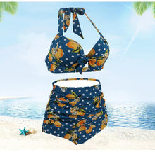 Load image into Gallery viewer, High Waisted Halter Mango Open Back Women Retro Sexy Bikini Swimwear Bathing Suit