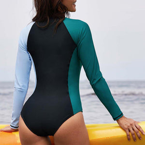 Sexy Long Sleeve One Piece Zipper Wetsuit and Surfing Swimsuit