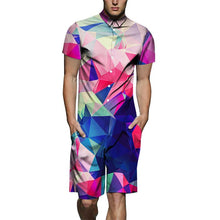 Load image into Gallery viewer, Men's Color Gradient Print Short-Sleeve Shirt One Piece Romper