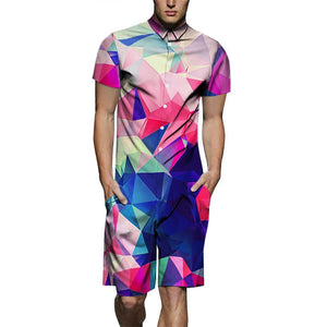Men's Color Gradient Print Short-Sleeve Shirt One Piece Romper