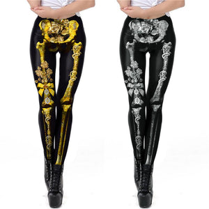 3D Skull Print Tight Leggings Halloween Costumes