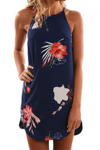 Load image into Gallery viewer, Blooming Red Flower Print Navy Sleeveless Dress