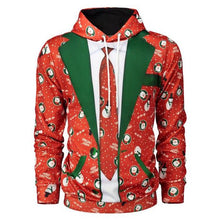 Load image into Gallery viewer, Ugly Christmas Tie Print Hoodie