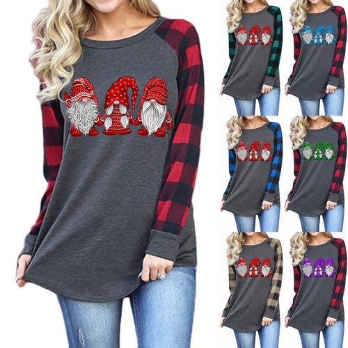 Women Christmas Shirt Santa Print Crew Neck Long Sleeve T-shirt