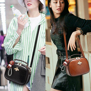 Women PU Leather Shoulder Messenger Bag Pearl Bee Shoulder Tote With Doll
