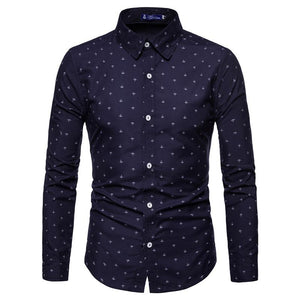 Anchor Print Casual Long Sleeve Shirt