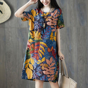 Cotton Floral Print Loose Vintage Dress