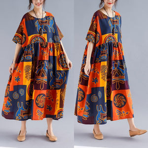 Plus Size Ethnic Cotton Retro Loose Maxi Dress