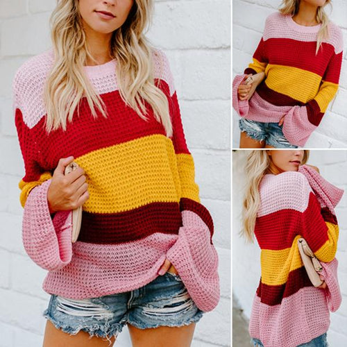 Loose Knitted Flare Sleeve Head Striped Rainbow Sweater