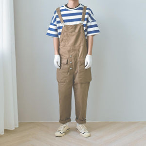 Men's Retro Tooling Loose Pocket One Piece Jumpsuit Bib Pants Coveralls Overalls