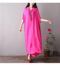 Load image into Gallery viewer, Plus Size V-neck Bat Sleeve Cotton Skirt Solid Color Loose Dress