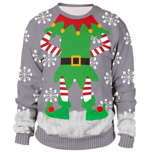 Santa Claus  Print Ugly Christmas Long Sleeve Sweatshirt