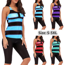 Load image into Gallery viewer, S-5XL Gradient Stripe Cropped Pants Sports Tankini Swimsuit
