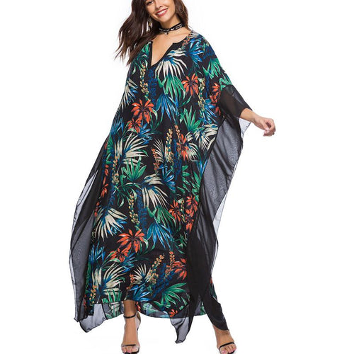 V-neck Bat Sleeve Print Maxi Dress