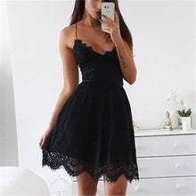 Load image into Gallery viewer, Sexy V-Neck Spaghetti Straps Lace Backless Women Party Club Beach Short Mini Dresses