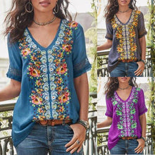 Load image into Gallery viewer, Casual Short Sleeve Patchwork V-neck Shirt