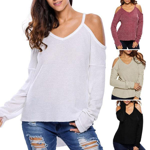 Sexy Off-Shoulder V-Neck Pullover Sweater