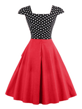 Load image into Gallery viewer, Square Collar Button Polka Dot Vintage Dress (S-4XL)