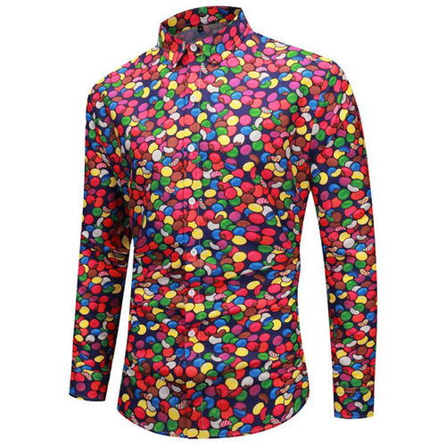 Christmas Candy Print Casual Long Sleeve Shirt