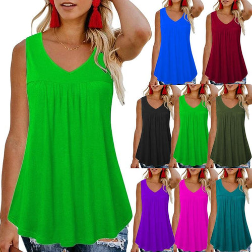 Women Plain Fashion Casual Round Neck Sleeveless Loose Vest Top