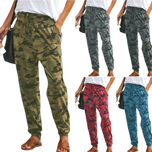 Women Camo Pants Harem Slim Sports Joggers Casual Camouflage Trousers