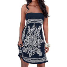 Load image into Gallery viewer, Women's Strapleess Floral Print Bohemian Beach Dress Cover-up Dress