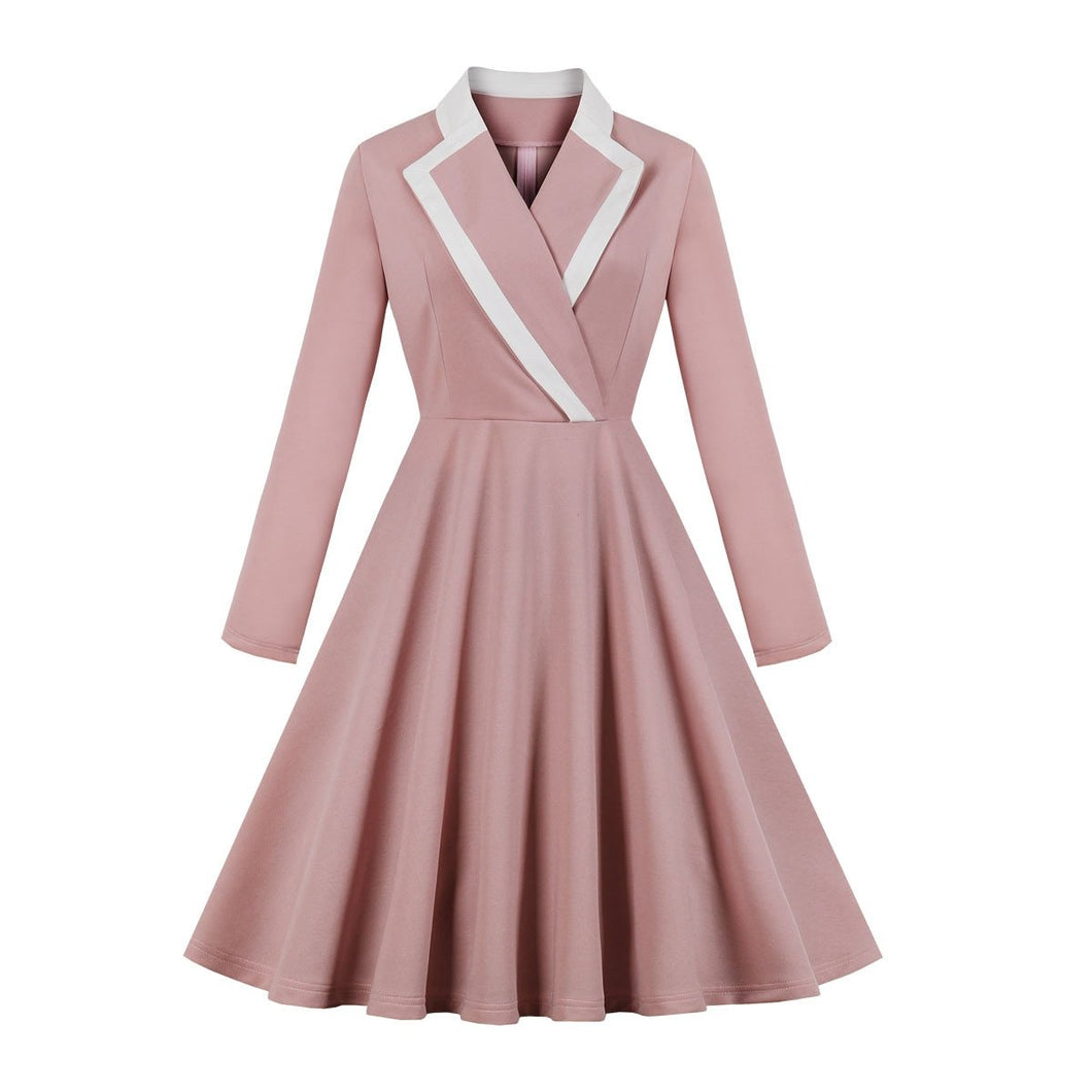 French Vintage Long Sleeve Hepburn Elegant Dress