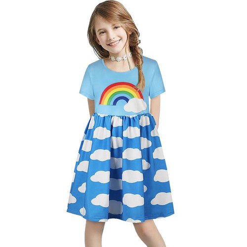 Fashion Rainbow Girl Short Sleeve Ruched Patchwork Flare Dress For Kids
