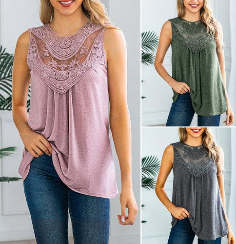 Round Neck Lace Sleeveless Tank Top T-Shirt