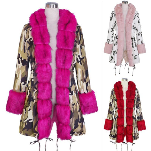 Women Winter Coat Cotton Jacket Plush Collar Warm Cotton Coat