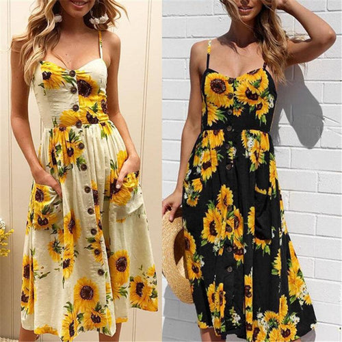 Sunflower Print Button Up A Line Dress