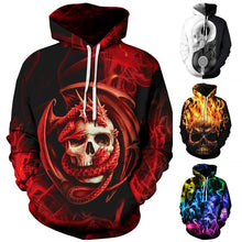 Load image into Gallery viewer, Halloween Skull Smoke Print Hoodie S-5XL Plus Size Halloween Costumes