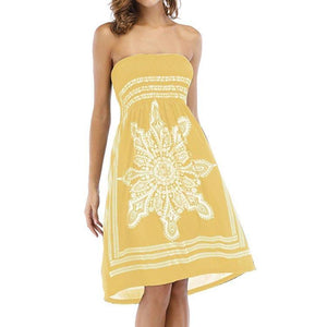 Women's Strapleess Floral Print Bohemian Beach Dress Cover-up Dress