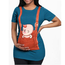 Load image into Gallery viewer, Maternity Plain O-Neck Cute Printing T-Shirt