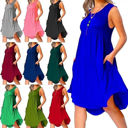 Summer Solid Color O-neck Pocket Ruffles Sleeveless Loose Dress